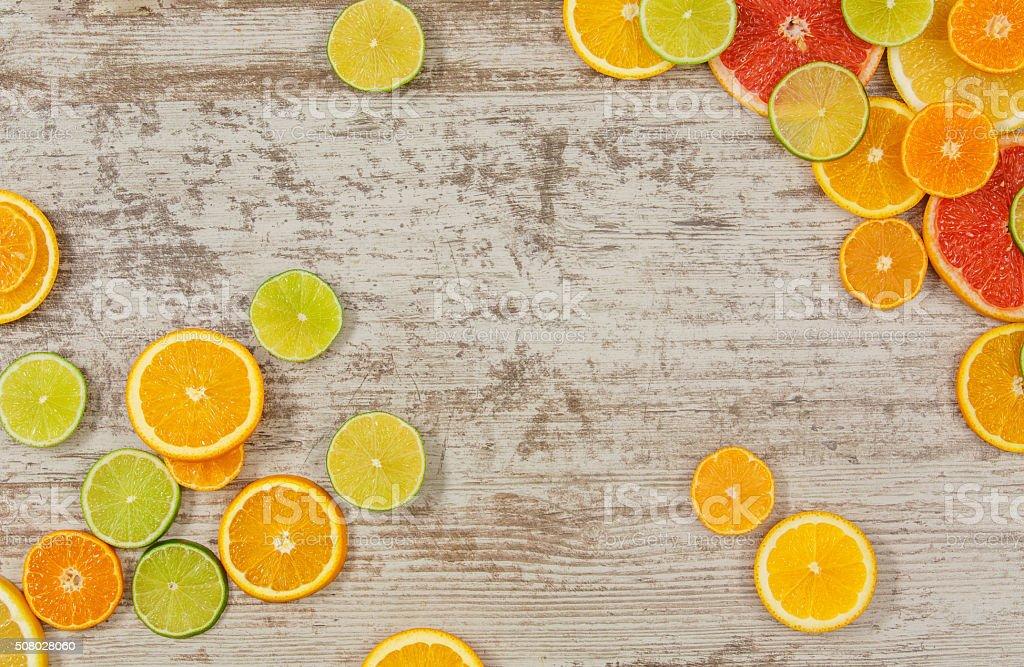 Citrus fruits background stock photo