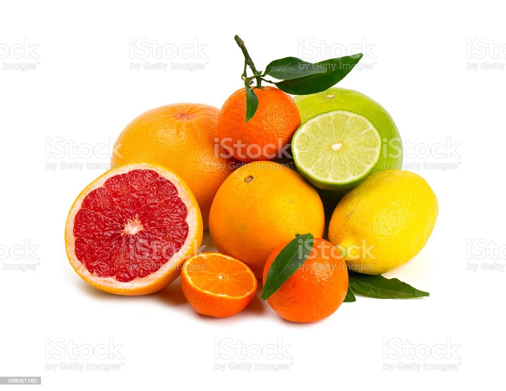 citrus fruits isolated on white background stock photo