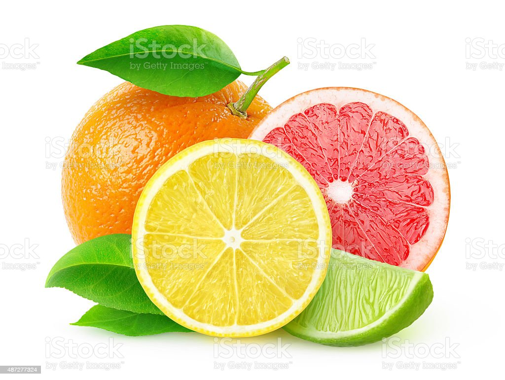 Citrus fruits isolated on white, with clipping path stock photo