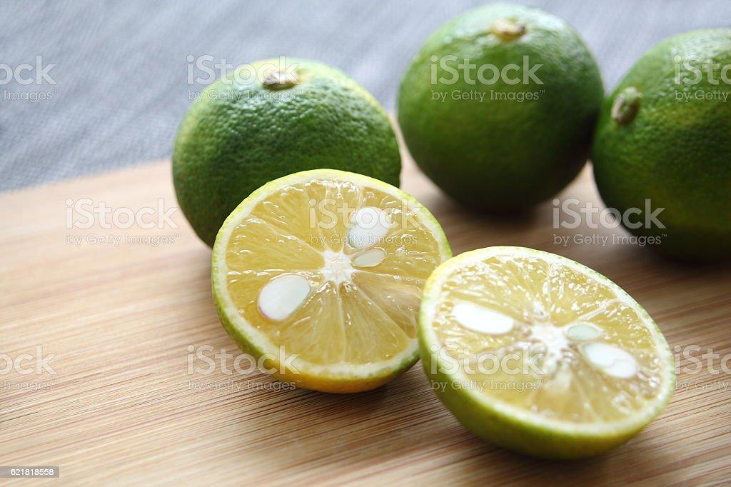 Citrus fruits, Sudachi stock photo