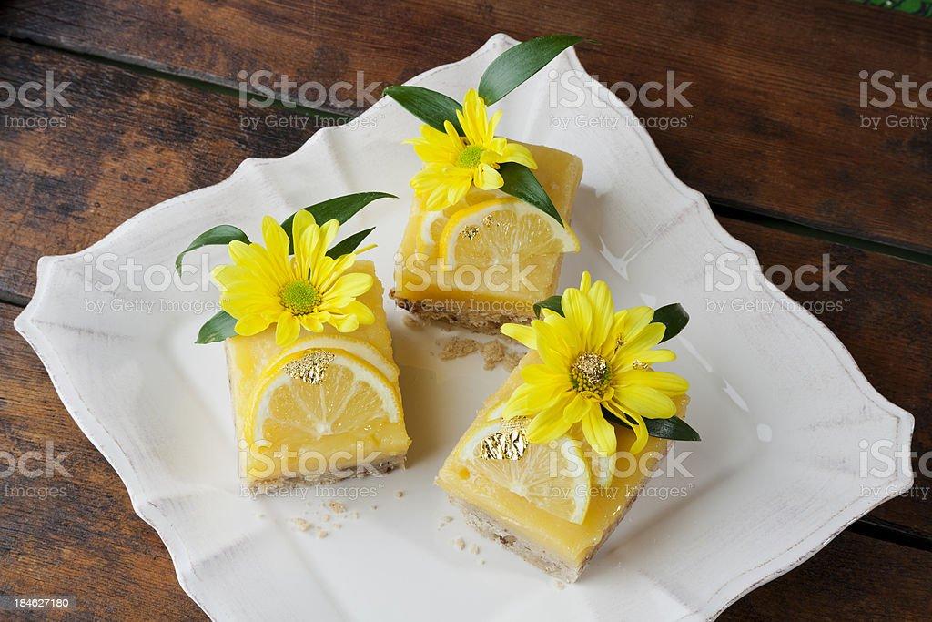 Citrus Lemon Cake, Fresh Fruit Cookie Pie Bars stock photo