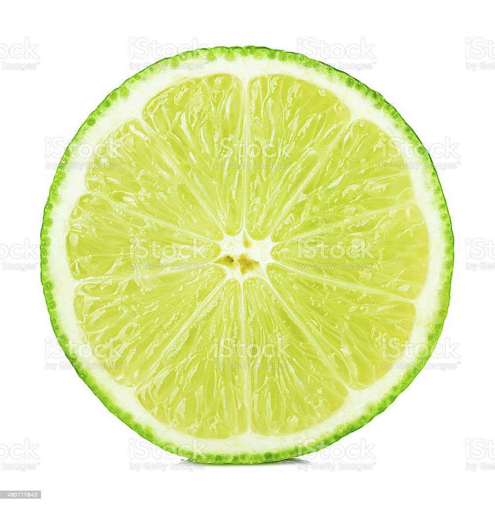 Citrus lime fruit half isolated on white background stock photo