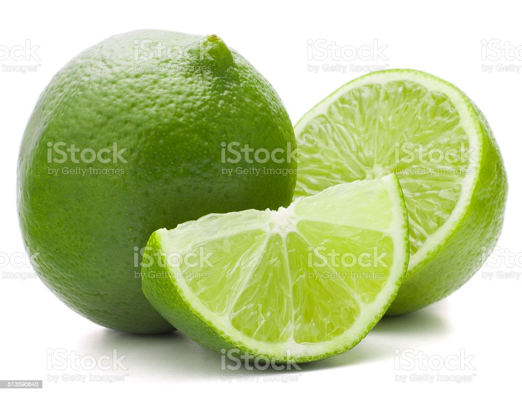 Citrus lime fruit isolated on white background cutout stock photo