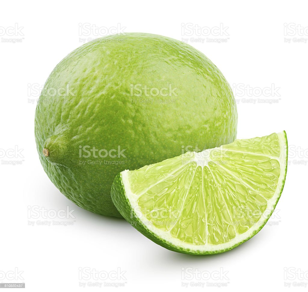 Citrus lime fruit with slice isolated on white stock photo