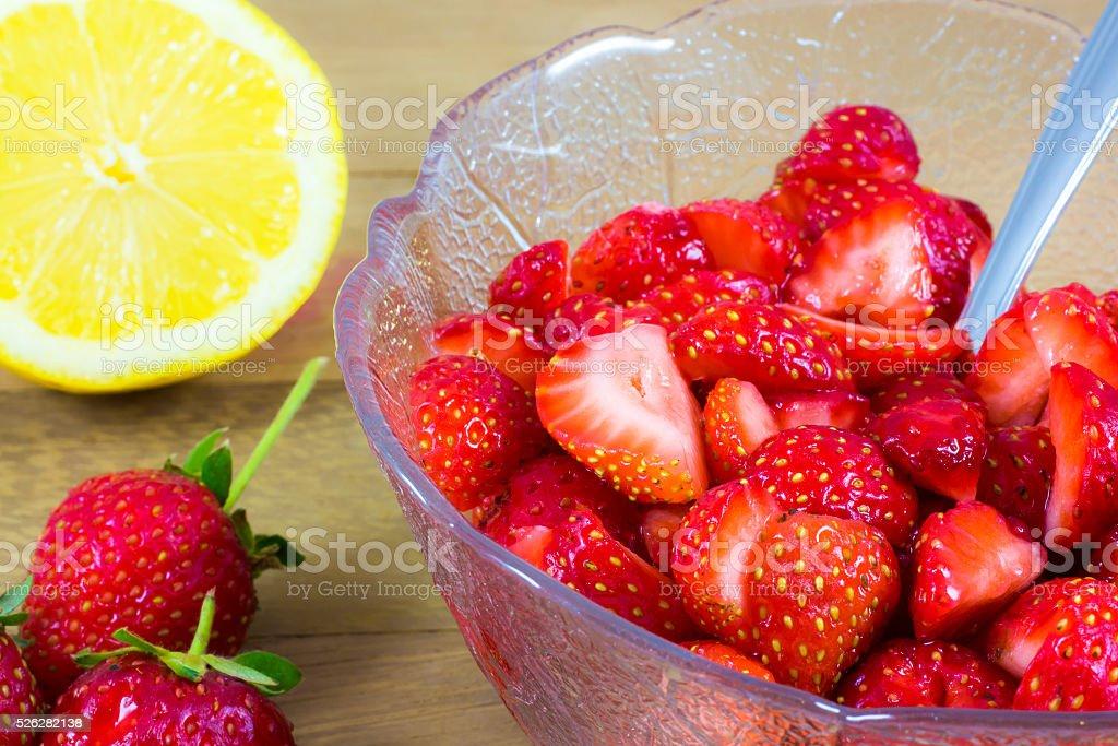 Citrus Macerated Strawberries stock photo