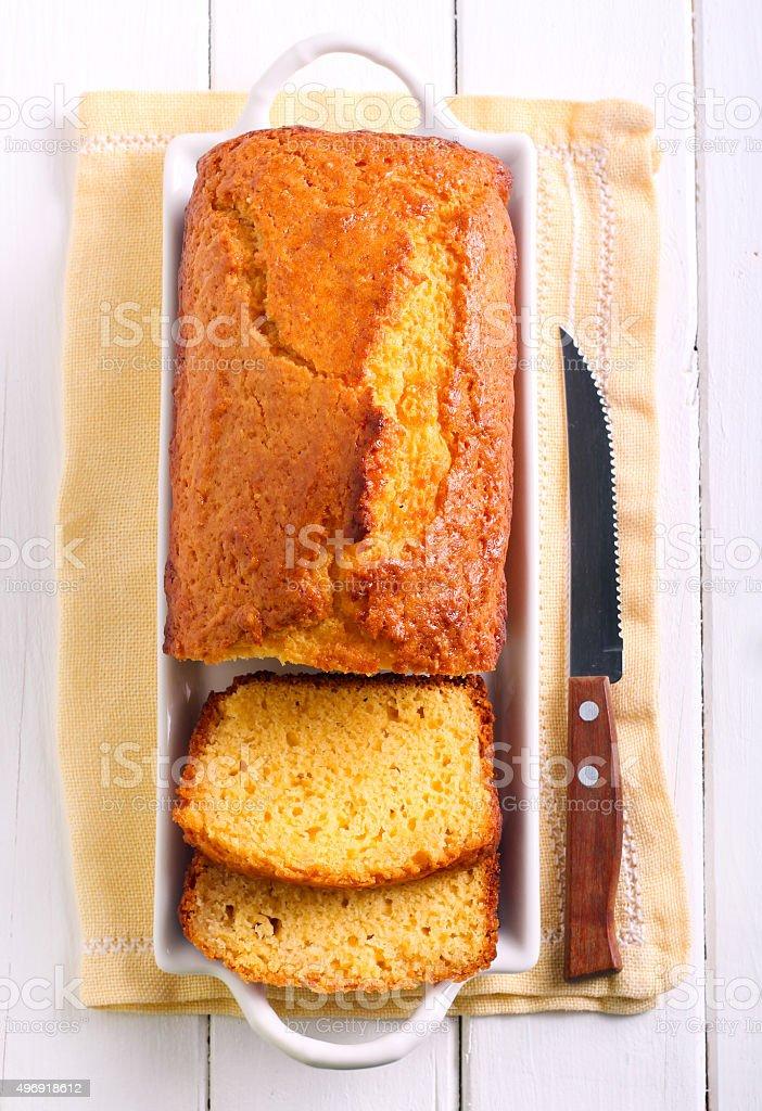Citrus polenta cake stock photo