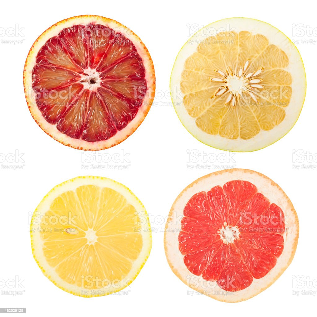 Citrus slices collage stock photo