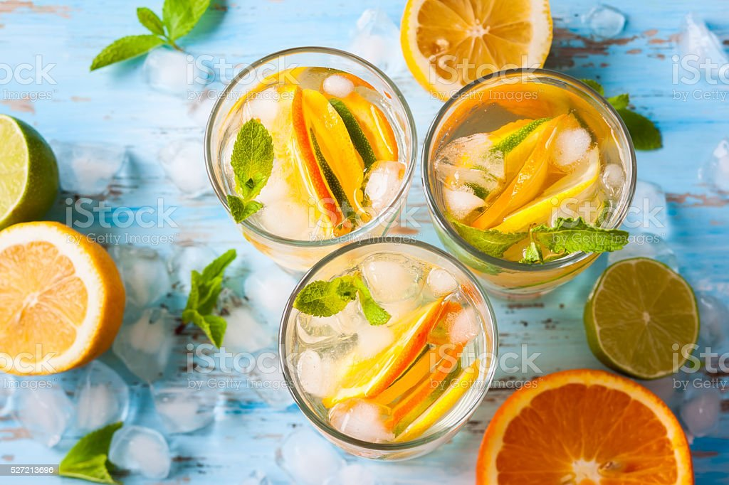 citrus water with mint stock photo