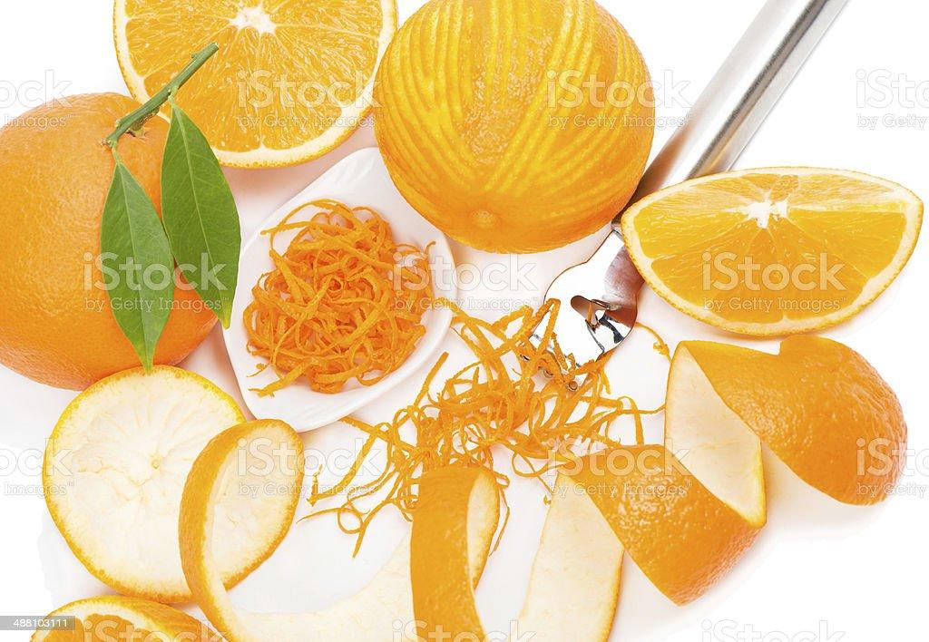 Citrus zester and orange fruits stock photo