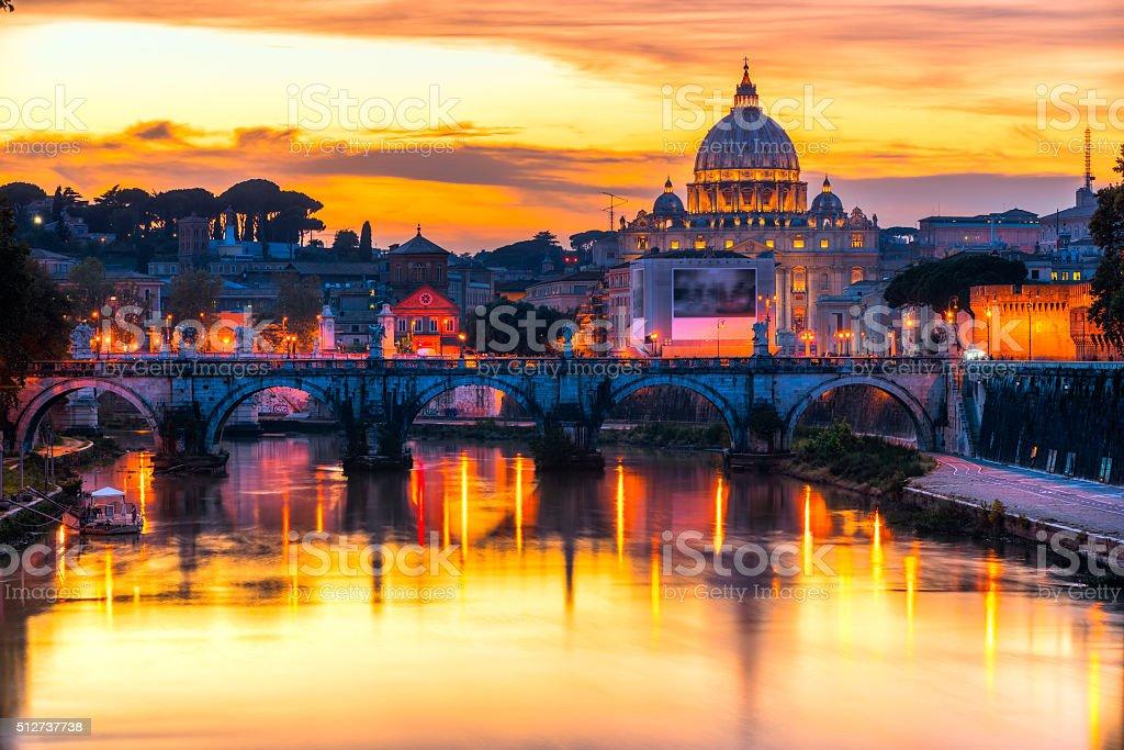 Città Vaticana with the San Pietro's Basilica, Rome, Italy. stock photo