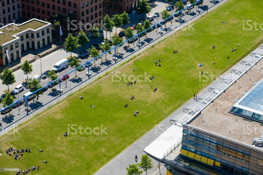 City aerial - public park in downtown Berlin stock photo