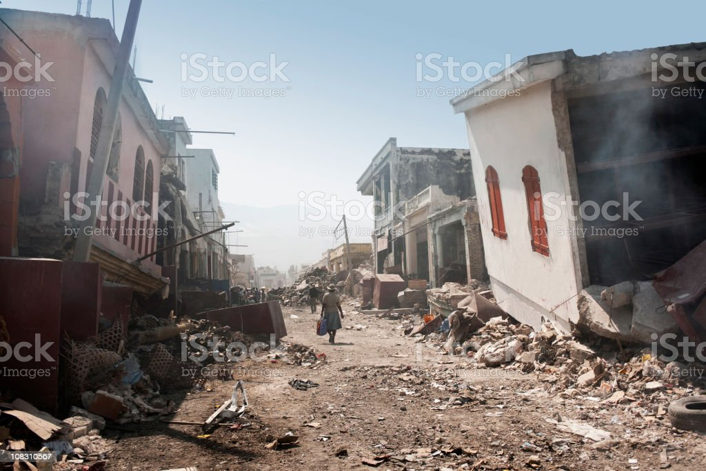 City after earthqake stock photo