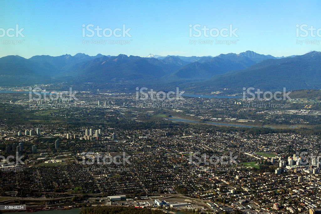 City Against the Mountains stock photo