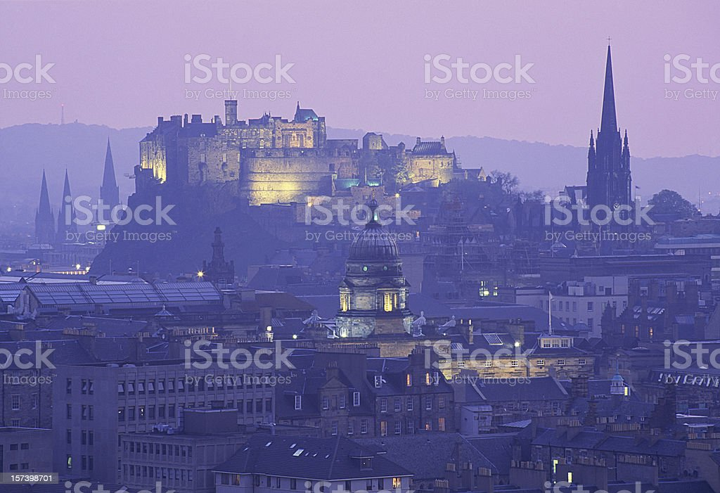 City and castle on top royalty-free stock photo