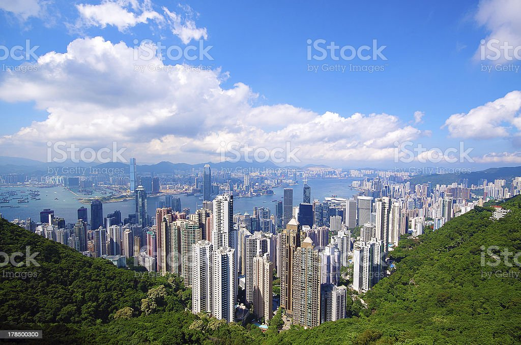 city and mountain stock photo