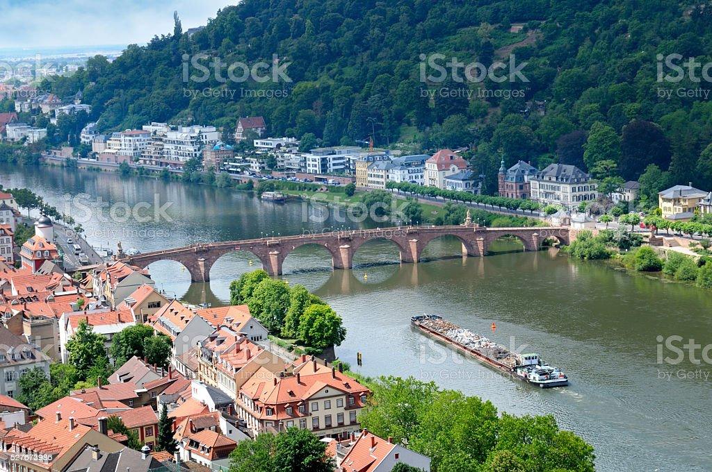 city and the bridge stock photo