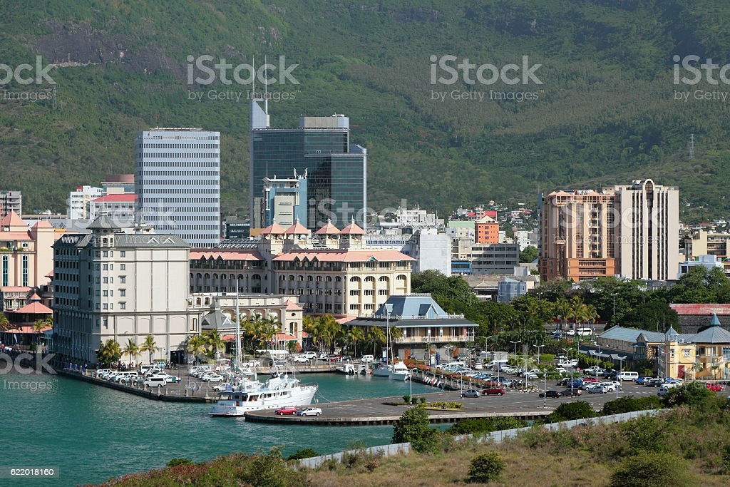 City and yacht-club with car park. Port Louis, Mauritius stock photo
