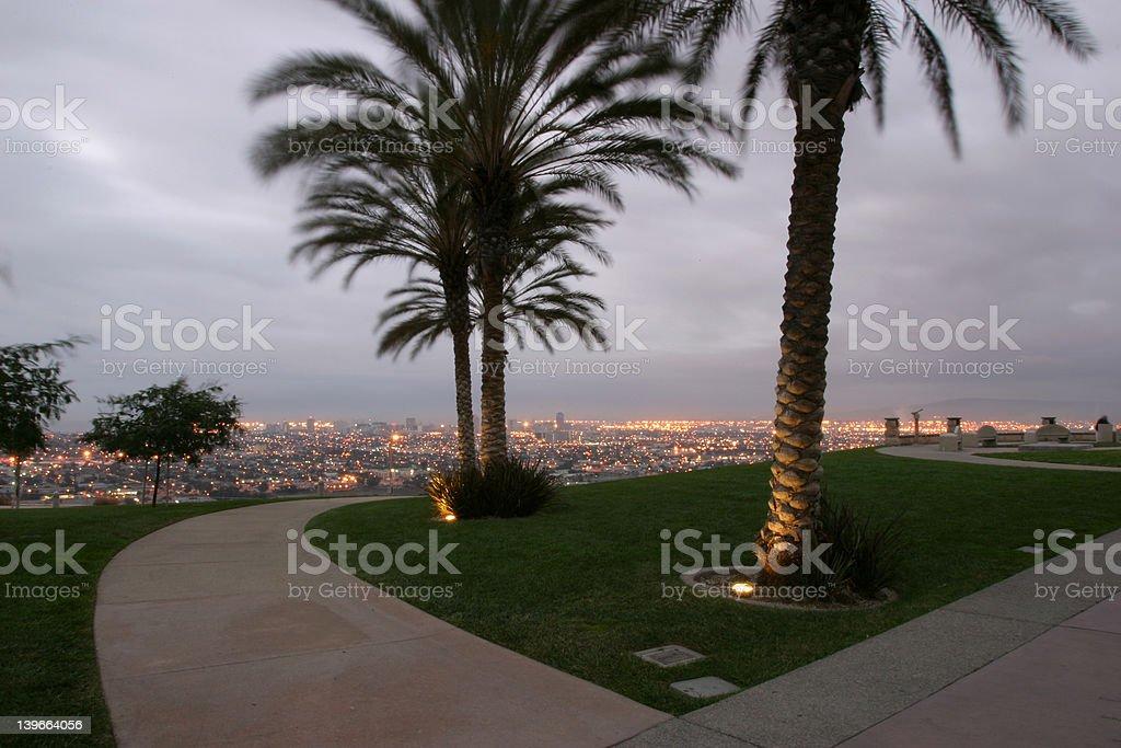 City at dawn stock photo