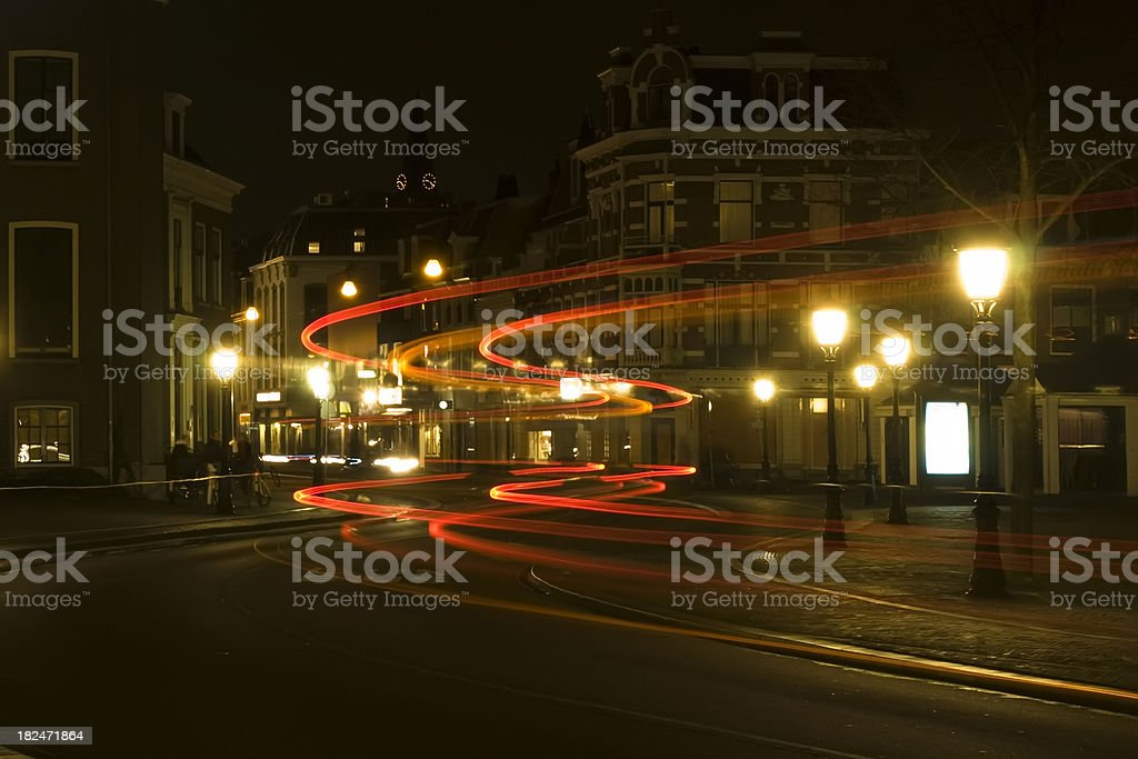 City at night - bus light trails royalty-free stock photo