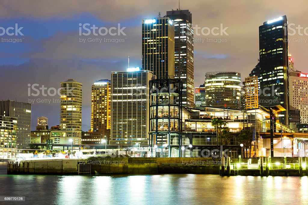 City at night, illuminating skyscrapers against night sky, Sydney, Australia stock photo