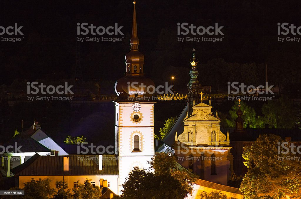 City at night. The Poor Clares Monastery in Stary Sacz. stock photo