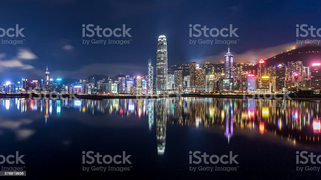 City at Night - Victoria Harbor, Hong Kong stock photo