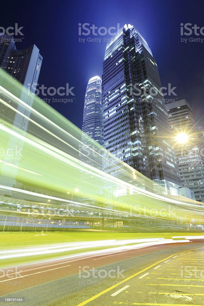 City at night with traffic royalty-free stock photo