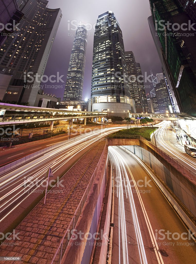 City at night with traffic trails royalty-free stock photo
