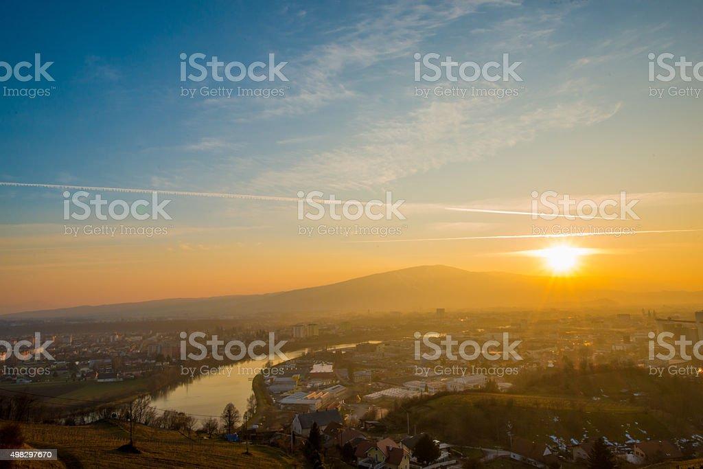 City at sunset stock photo