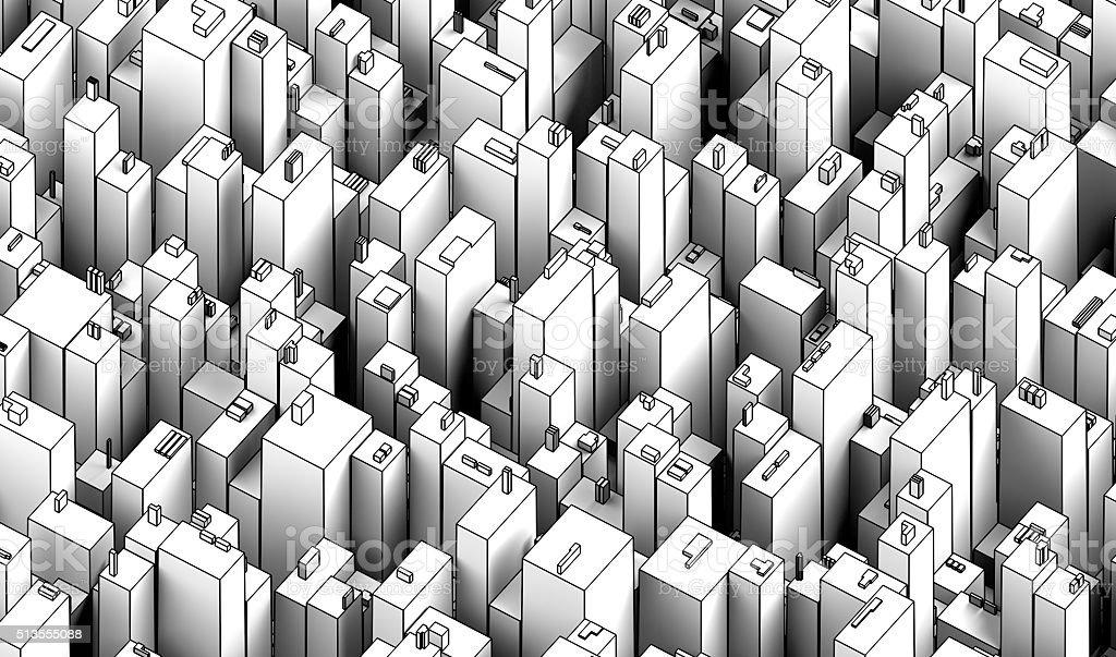 City axonometry stock photo
