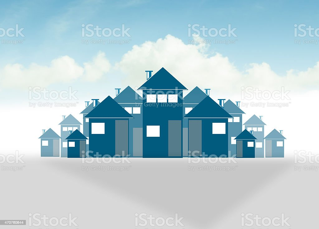 City background made of different building stock photo