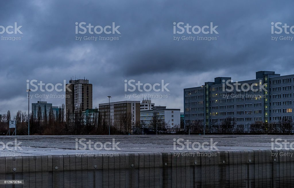 City before a storm stock photo