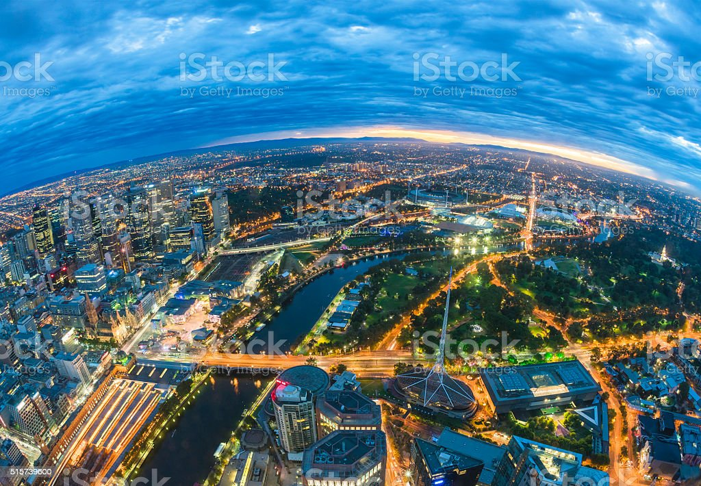 City before sunrise stock photo