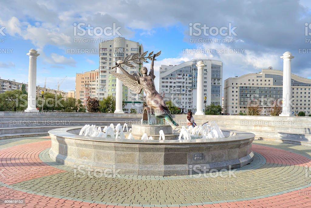 City Belgorod. Fountain of Nike stock photo