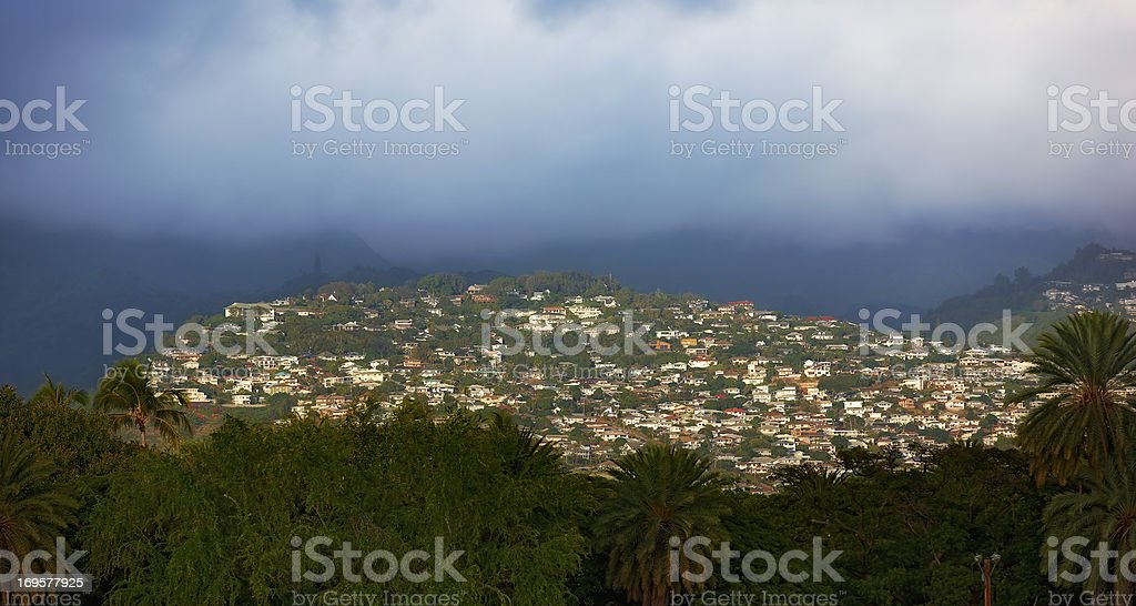 A city beneath the clouds royalty-free stock photo