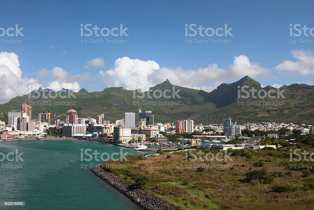 City between sea and mountains. Port Louis, Mauritius stock photo