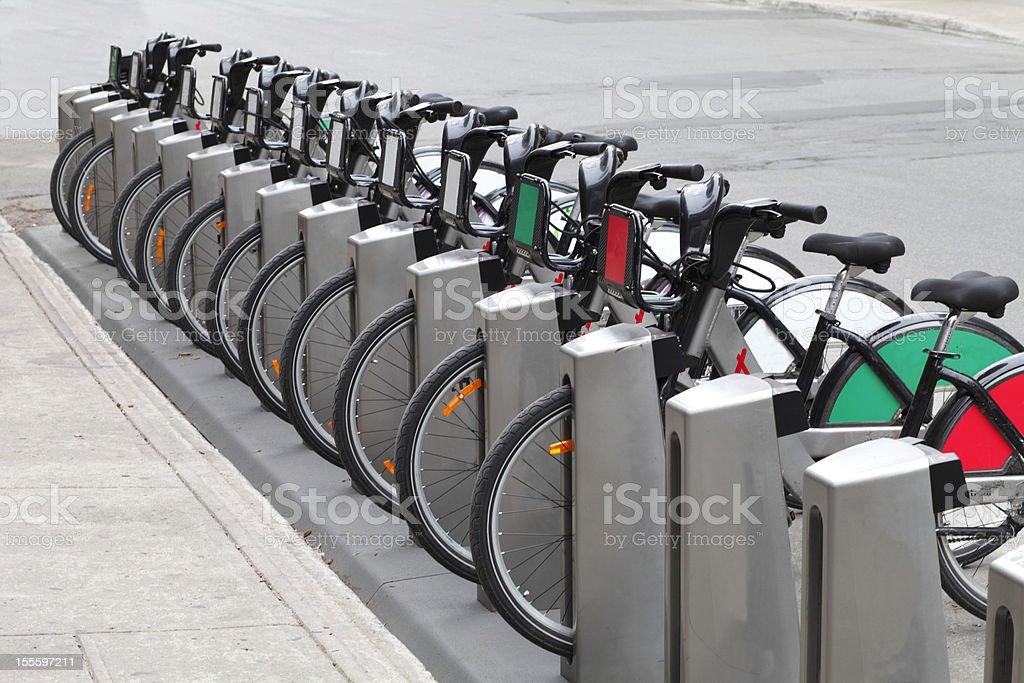 City bicycle rental. stock photo