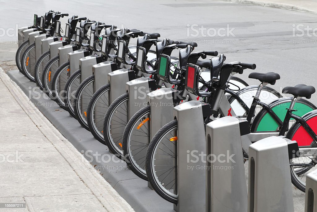 City bicycle rental. stock photo