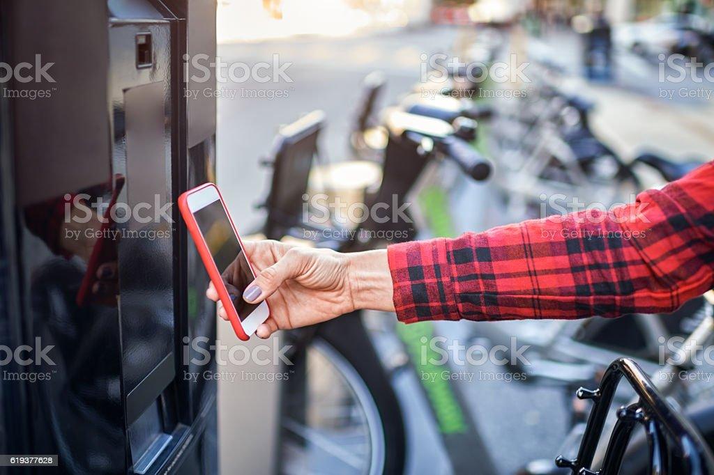 City bicycle rental stock photo