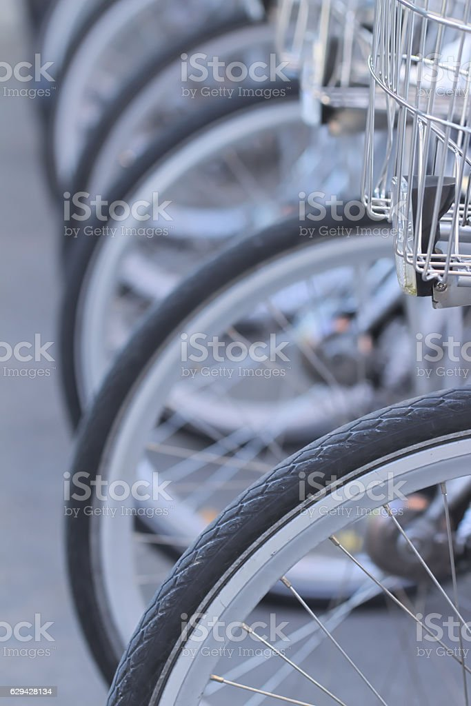 City bicycles in a row stock photo