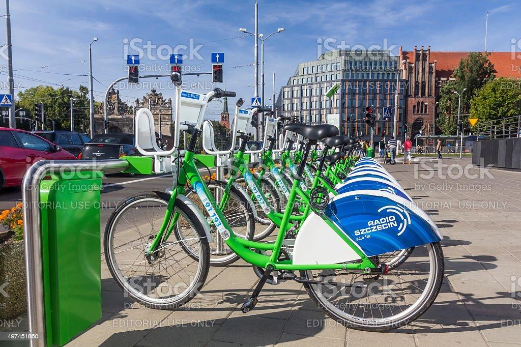 City bicycles in Szczecin, Poland stock photo
