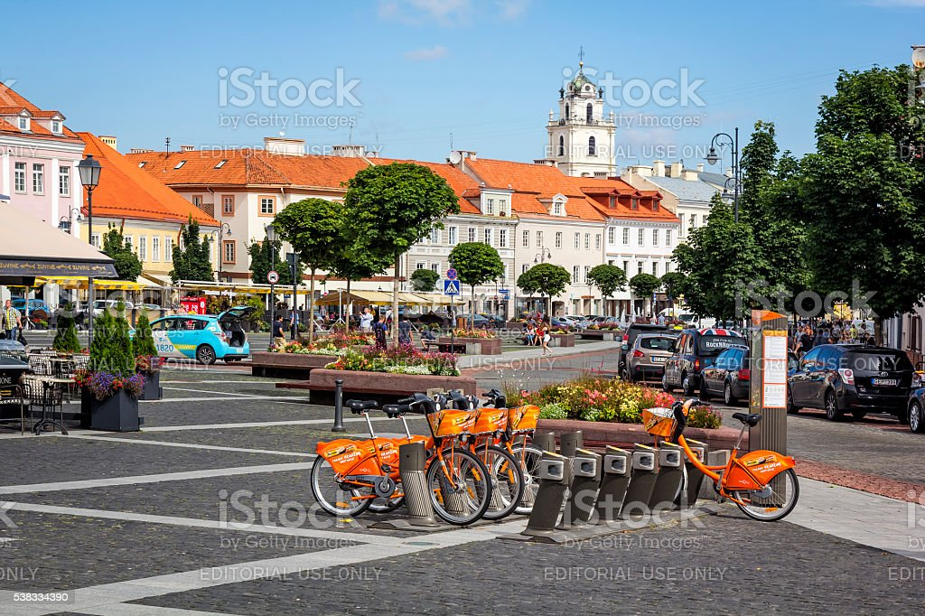 City bicycles in Vilnius, Lithuania stock photo