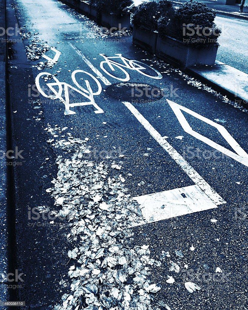 City bike lane at fall royalty-free stock photo