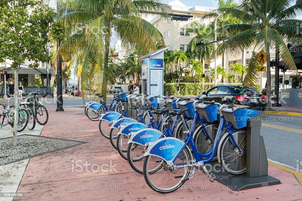 City bike station in Miami Beach, Florida stock photo