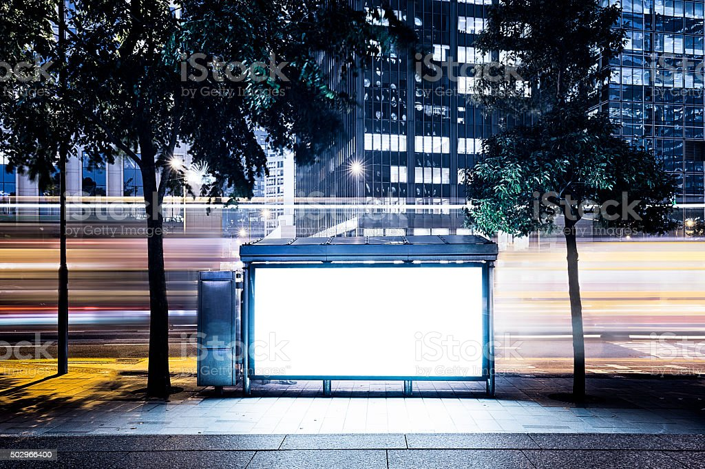 City Billboard with Modern Buildings Background stock photo
