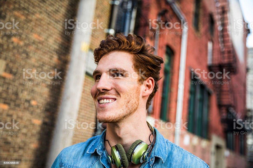City break in Chicago - Man having fun outdoor stock photo
