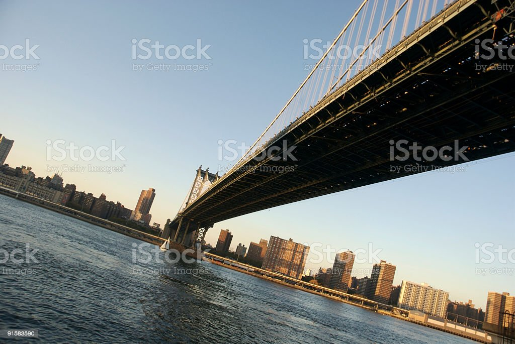 City Bridge Spans Wide Blue River royalty-free stock photo