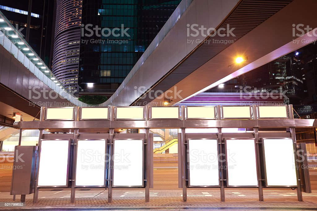 City bridge streetscape backgrounds advertisement lightboxes of night stock photo
