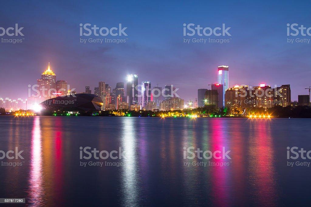 City building at night stock photo
