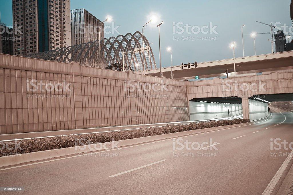 City building street scene and road ironbridge tunnel of night scene stock photo